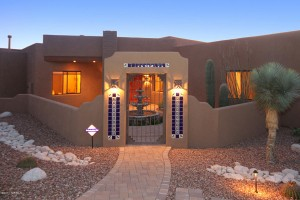 Quail canyon santa fe style home under contract sabino for Adobe style mobile homes